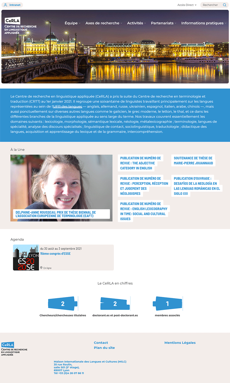 Page d'accueil nouveau site CeRLA