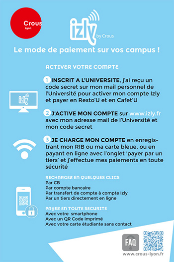 Carte Izly : activation du mode de paiement