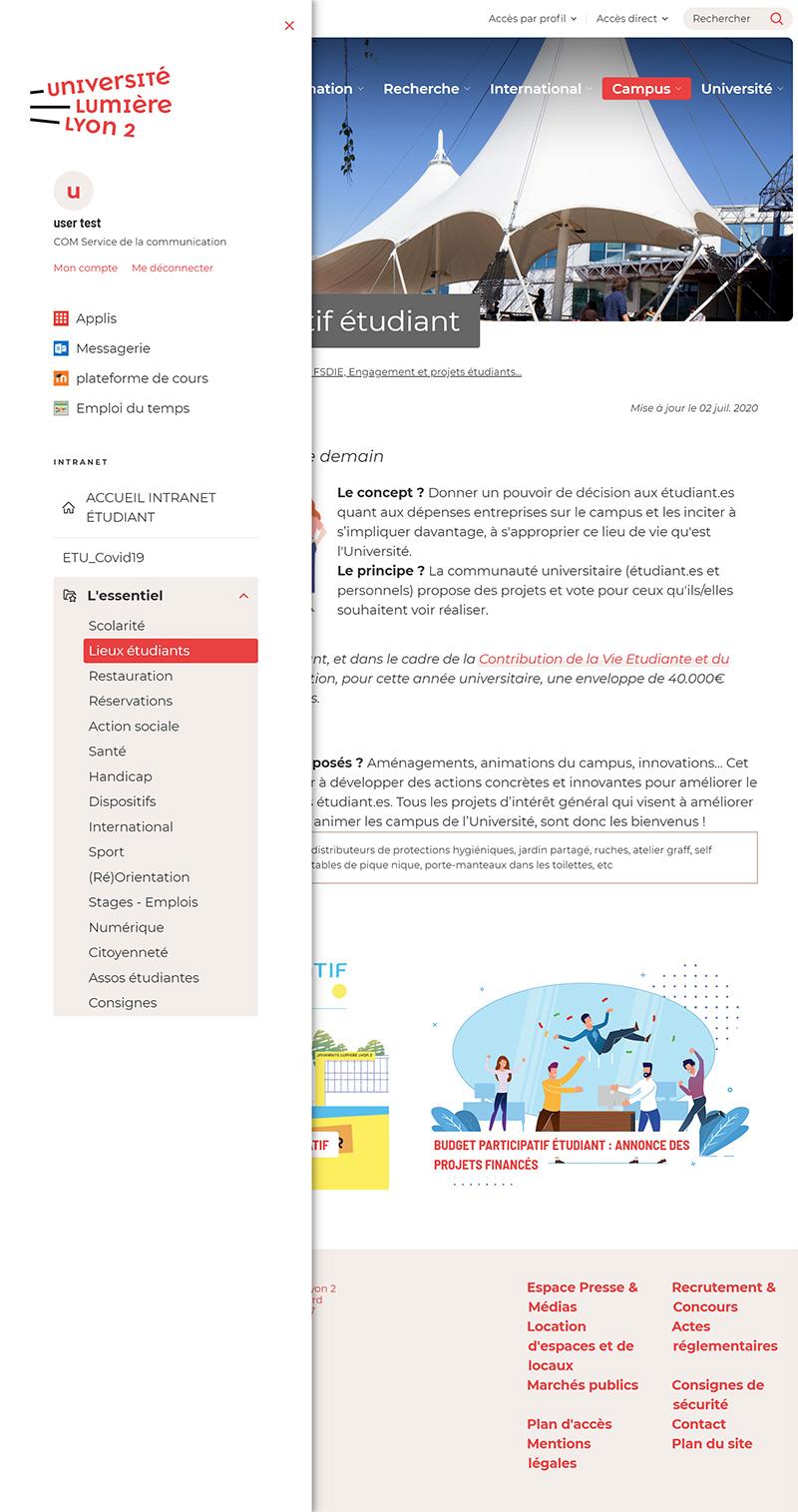 Page web en cours de consultation avec menu intranet