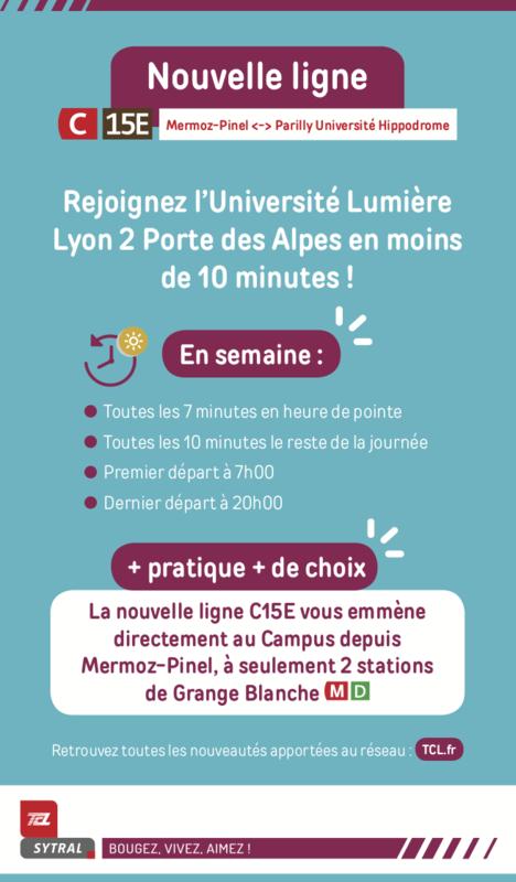 Venir au campus Porte des Alpes en TCL - nouvelle ligne