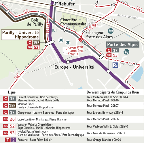 Itinéraire TCL - Campus Porte des alpes